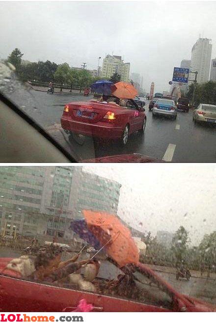 Convertible in the rain
