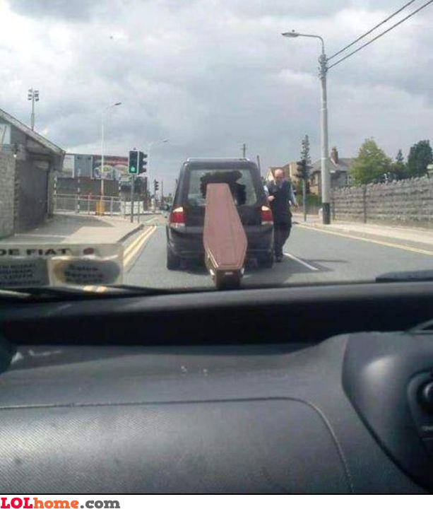 Runaway coffin