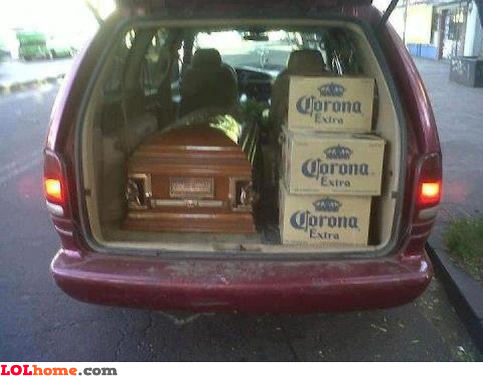 Funeral with alcohol