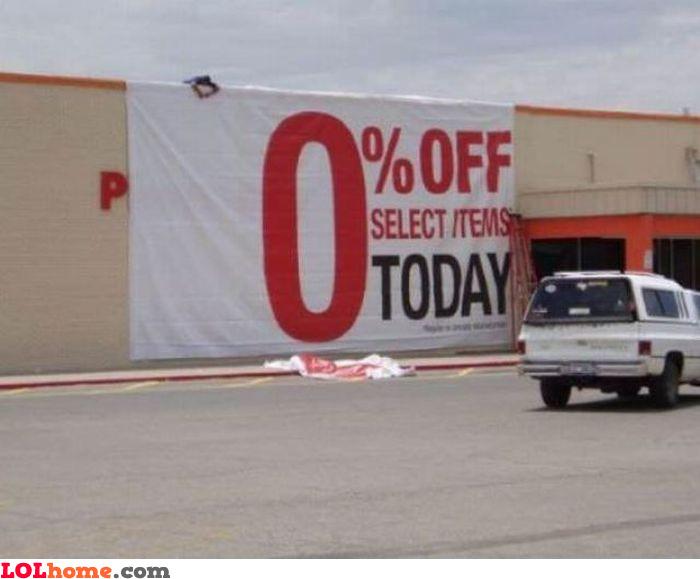 0 percent off