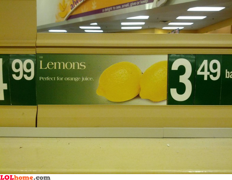 Lemons for orange juice