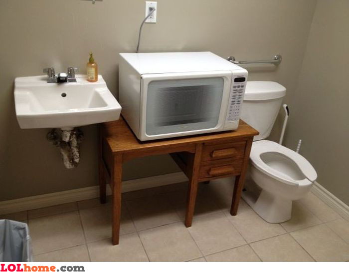 Microwave in toilet