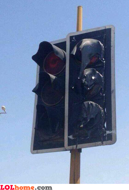 Melted traffic lights