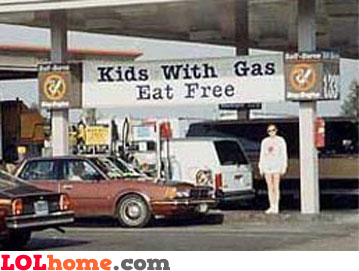 Kids with gas eat free