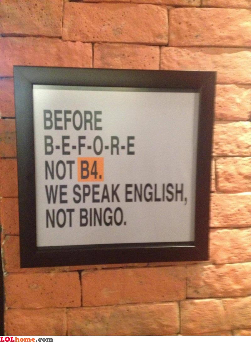 English, not Bingo