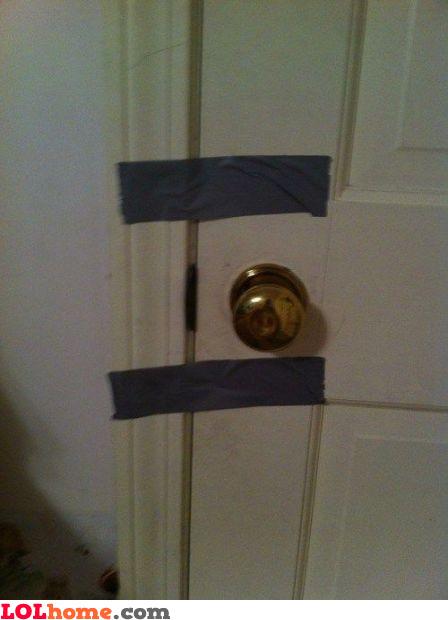 Securely locked door