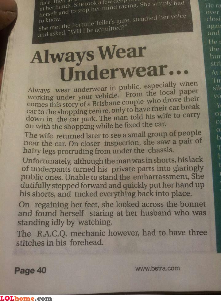 Wear underwear