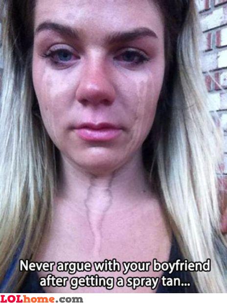 Spray tan tears