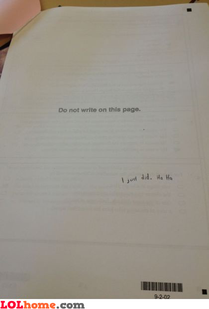 Do not write on this page