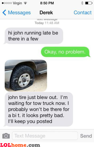 Tire blew up