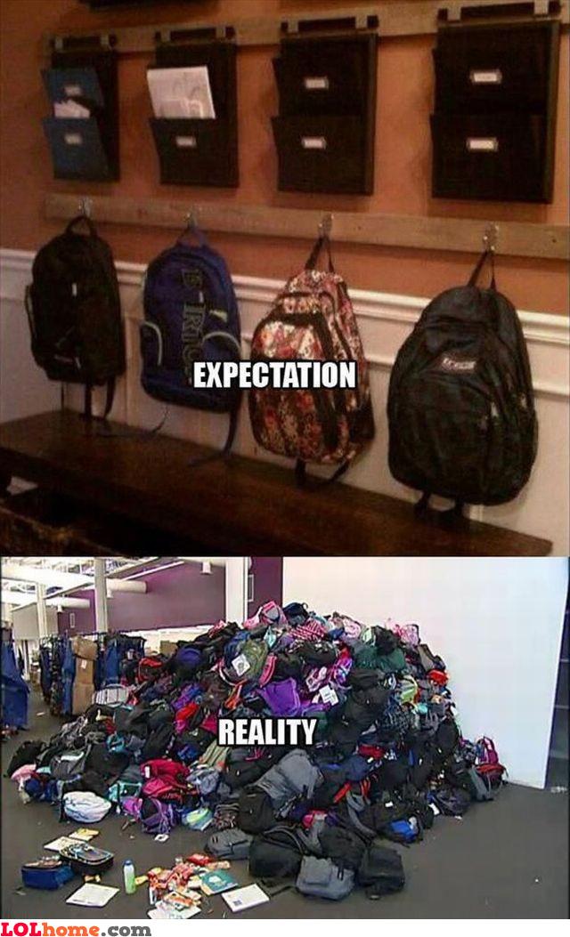 Schoolbag chaos