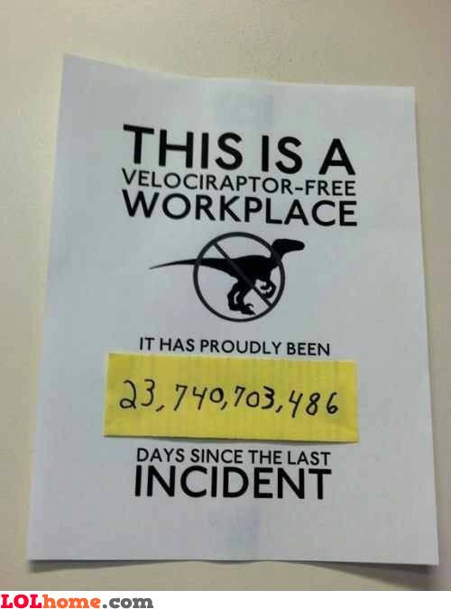 Velociraptor free zone