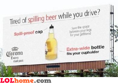 Spilling beer while you drive