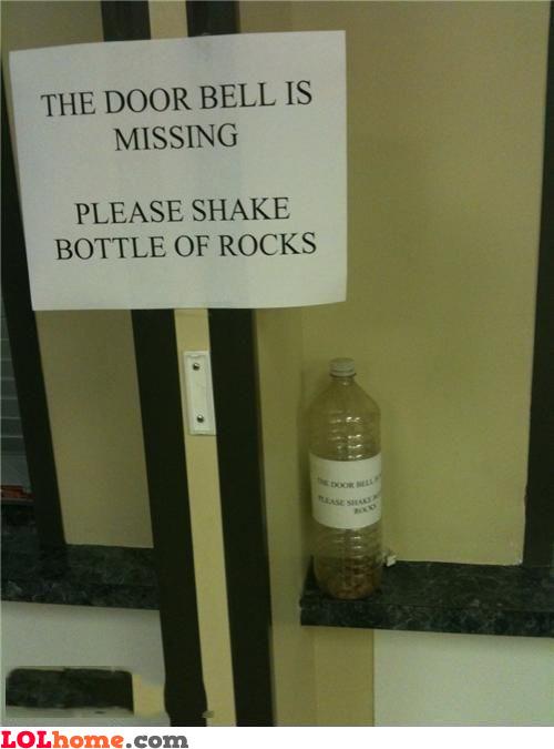 Shake bottle of rocks