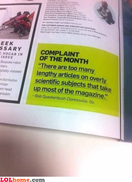 Complaint of the month