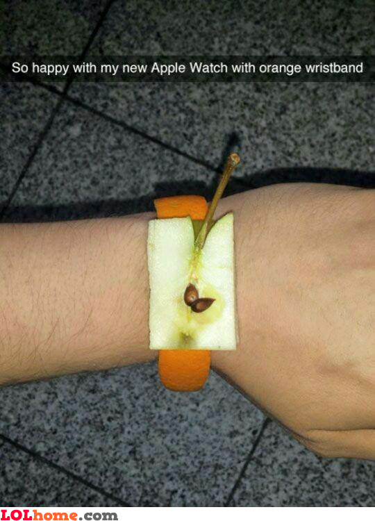 Apple watch with orange wristband