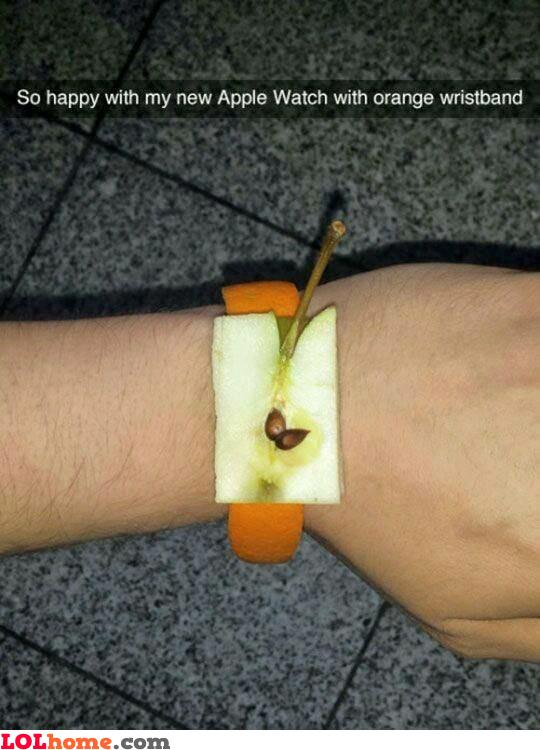 Apple watch with orange wristband
