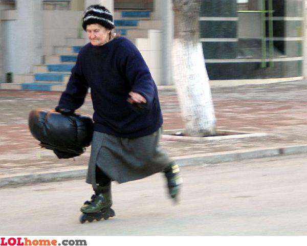 Skating granny