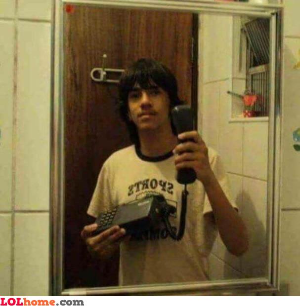 Old school bathroom selfie