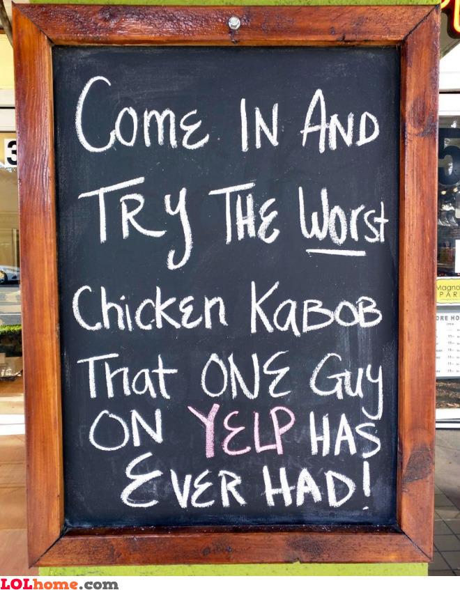 Worst chicken kabob