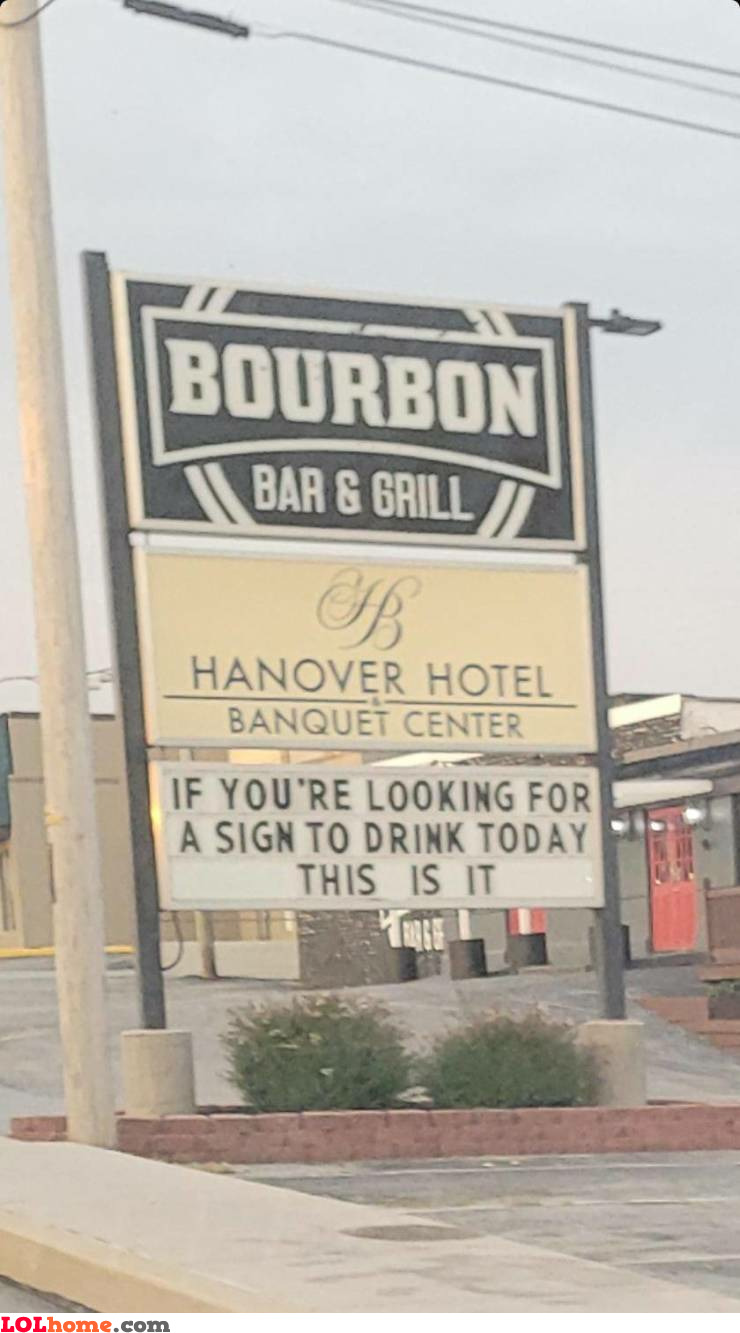 Sign to drink
