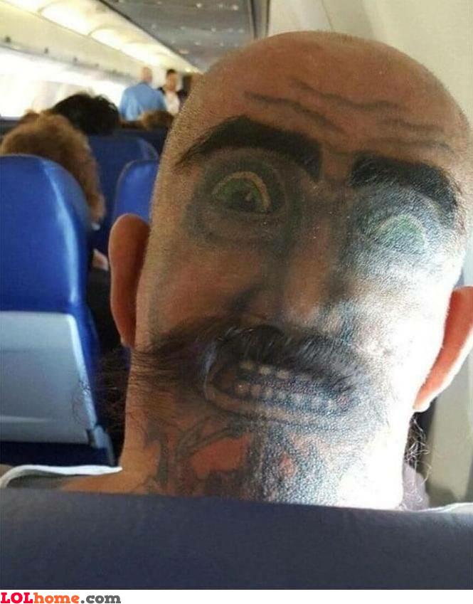 Reverse head tattoo