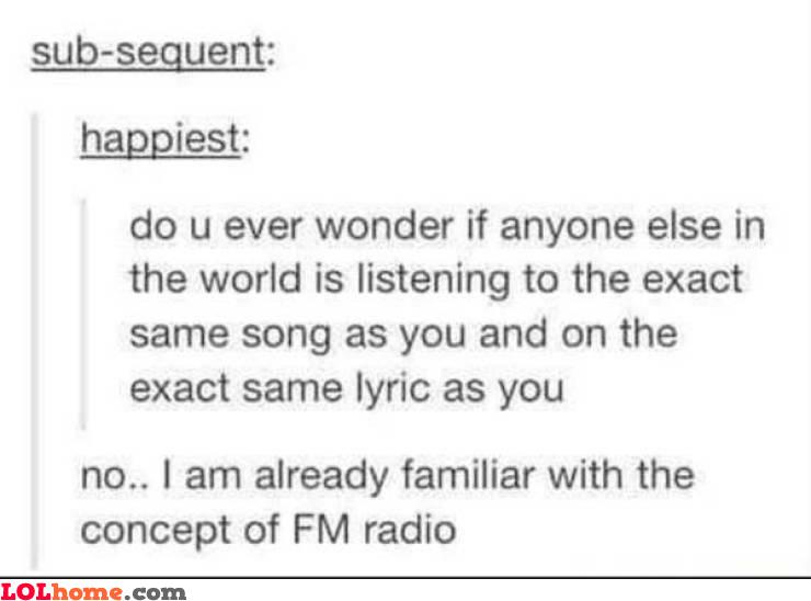 Exact same song