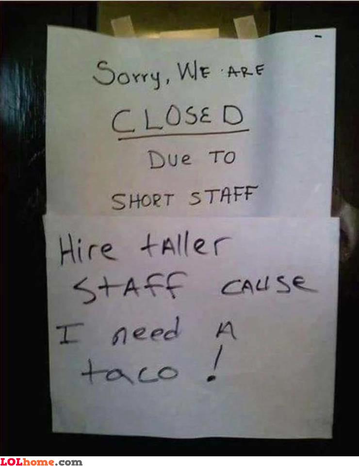 Hire tall staff