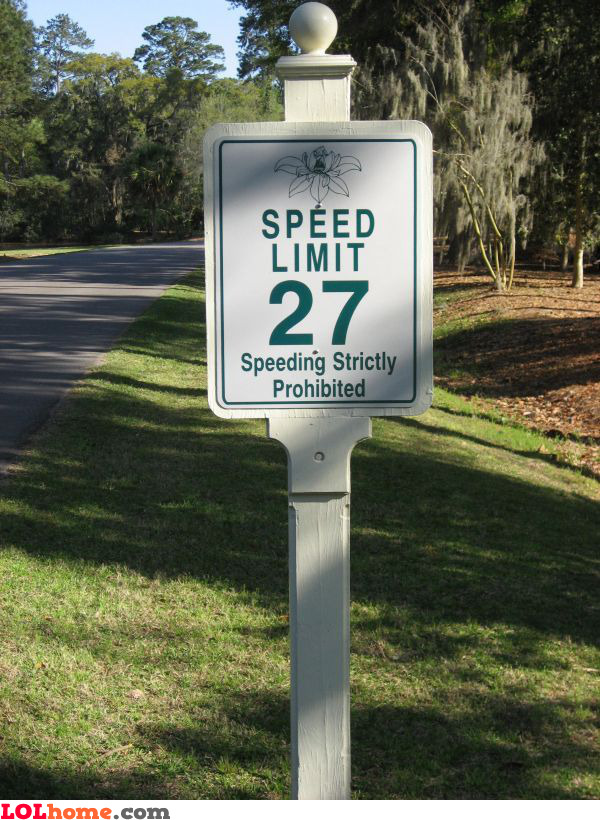 27 mph speed limit sign
