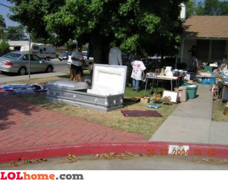 Yard sale: coffin