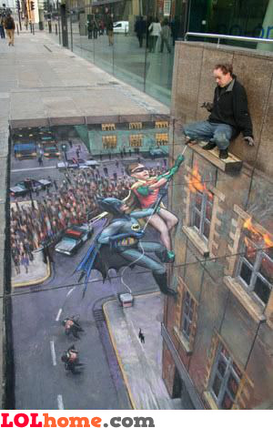 Pavement art: Batman & Robin