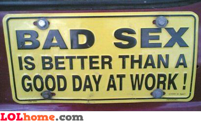 Bad sex is better than a good day at work