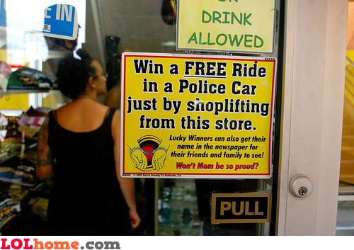 Win a free ride in a police car