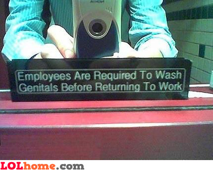 Employees are required to wash genitals