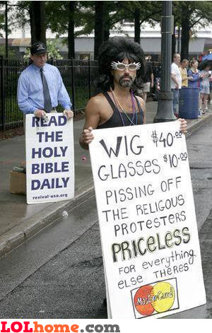 Pissing off the religious protesters