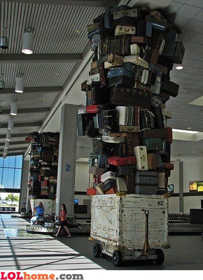 Typical airport luggage pile
