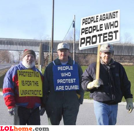 People against people who protest
