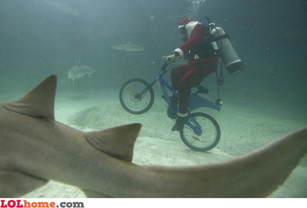 Santa is known for his diving and biking activities