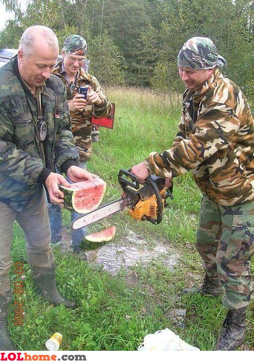 Redneck watermellon slicing