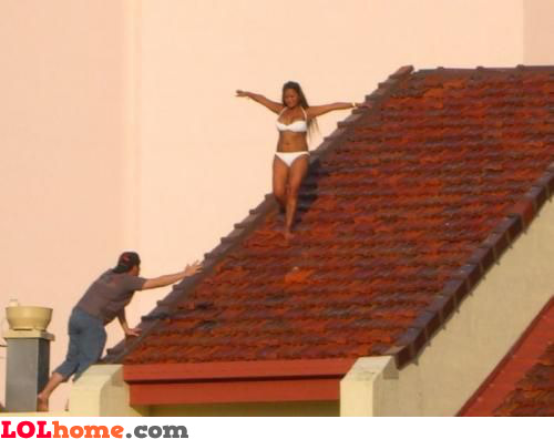 I've told you to stop sunbathing on the roof, honey