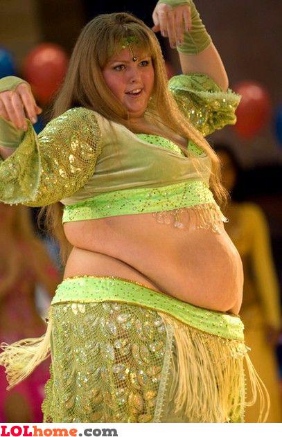 Overweight belly dancer