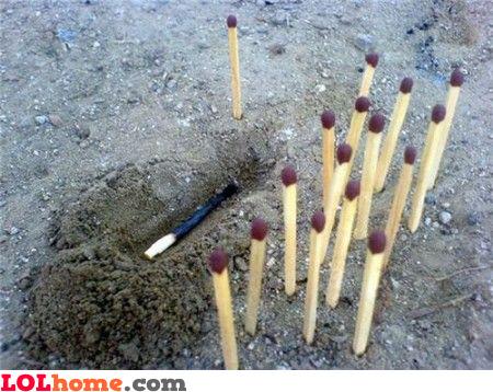 Match stick funeral