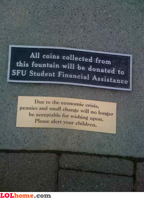 No pennies during economic crisis