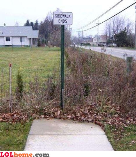 Sidewalk ends here