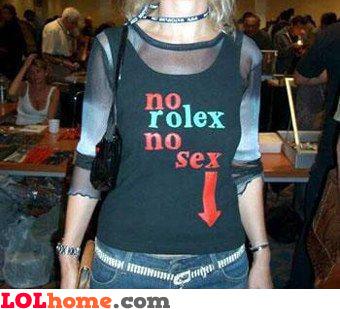 No Rolex no sex