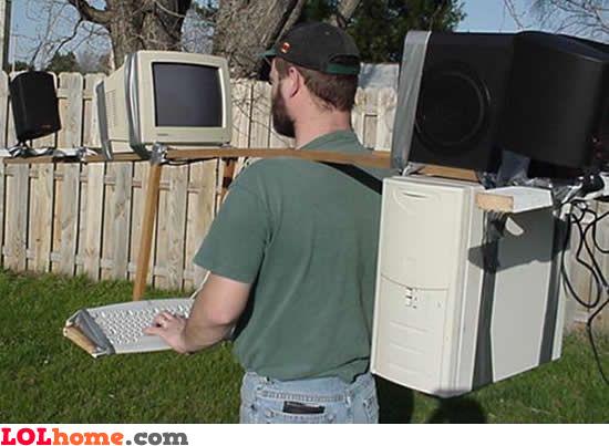 funny image Mobile desktop computer