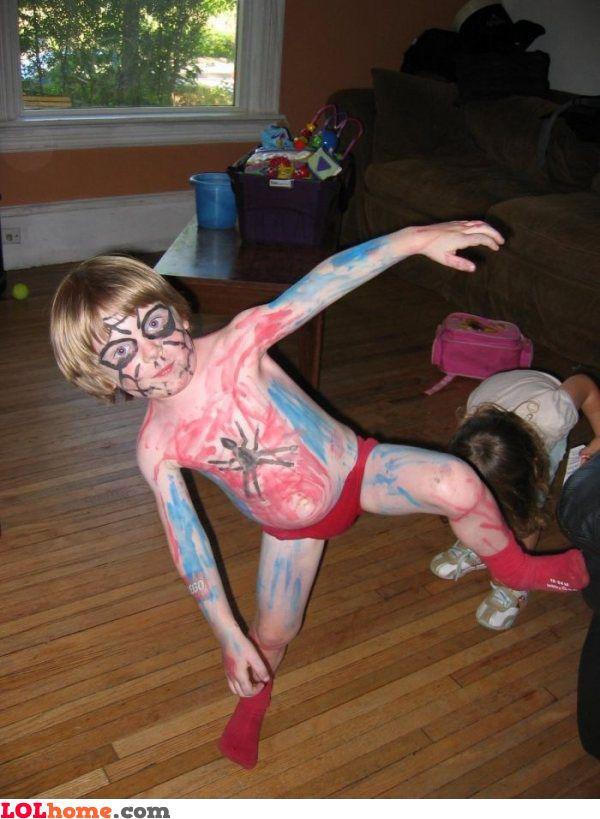 Look mum, I'm spiderman