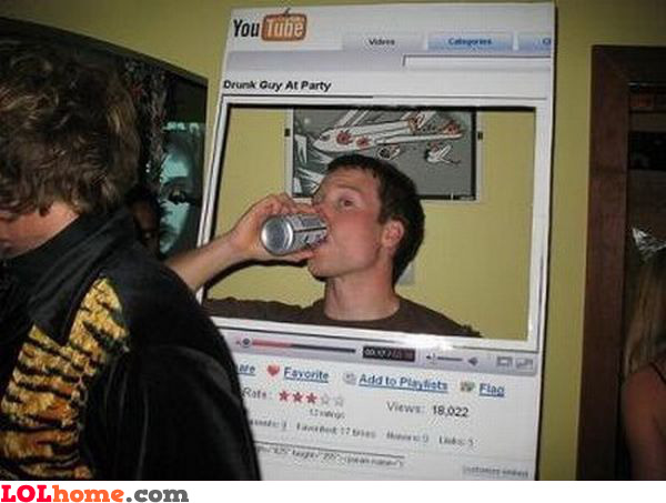 Drunk guy at party on YouTube