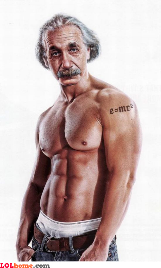 Einstein after going to the gym