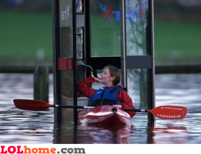 Submerged phone booth